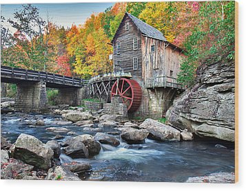 Glade Creek Grist Mill Wood Print by Mary Almond
