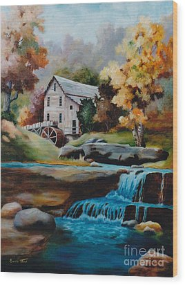 Glade Creek Mill Wood Print by Brenda Thour