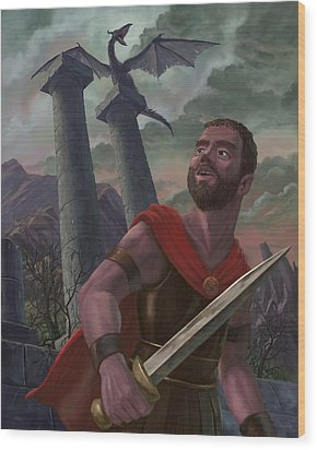 Gladiator Warrior With Monster On Pillar Wood Print by Martin Davey