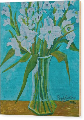Gladiolas On Blue Wood Print by Pilar Rey de Castro