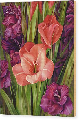 Gladiolus A Bee's View Wood Print