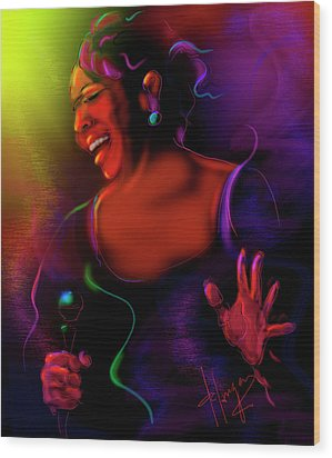 Wood Print featuring the painting Gladys Knight by DC Langer