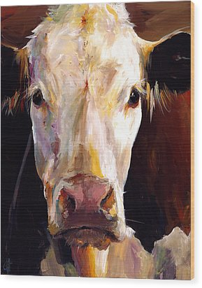 Gladys The Cow Wood Print by Cari Humphry