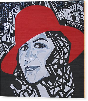 Glafira Rosales In The Red Hat Wood Print by Yelena Tylkina