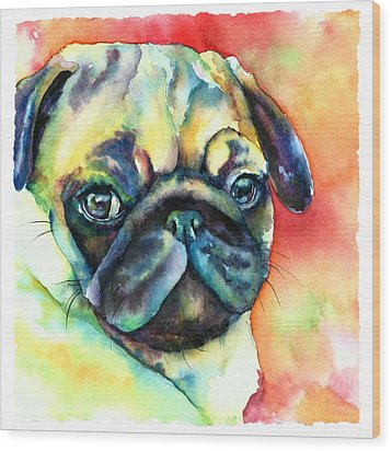 Glamour Pug Wood Print by Christy  Freeman