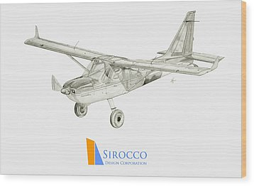 Glasair Sportsman Tc With Sirocco Design Corp. Winglets Logo 3 Wood Print by Nicholas Linehan