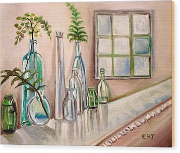 Glass And Ferns Wood Print by Elizabeth Robinette Tyndall