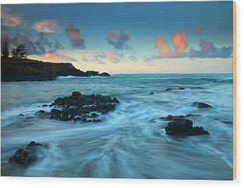 Glass Beach Dawn Wood Print