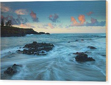 Glass Beach Dawn Wood Print by Mike  Dawson