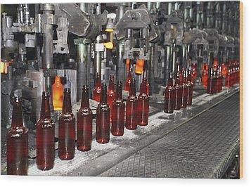 Glass Bottle Production Line Wood Print by Ria Novosti