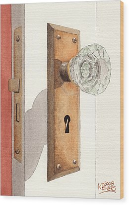 Glass Door Knob And Passage Lock Revisited Wood Print by Ken Powers