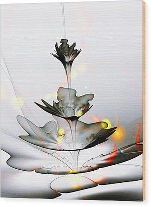Wood Print featuring the mixed media Glass Flower by Anastasiya Malakhova