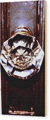 Glass Knob Wood Print by Brenda Myers
