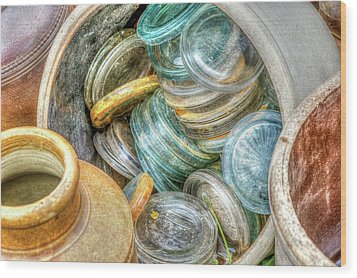Glass Lids Wood Print by Irwin Seidman