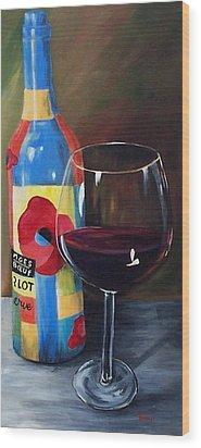 Glass Of Merlot   Wood Print by Torrie Smiley