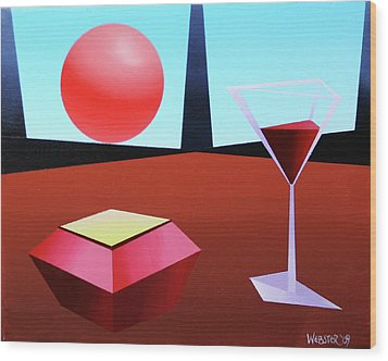 Glass Of Wine On Planet X Wood Print by Mark Webster
