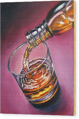 Glass Of Wine Original Oil Painting Wood Print by Natalja Picugina