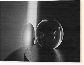 Glass Sphere In Light And Shadow Wood Print by David Gordon