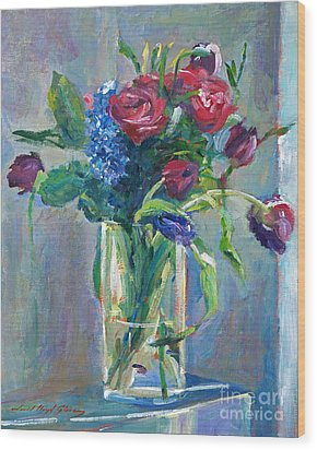 Glass Vase On Sill Wood Print by David Lloyd Glover
