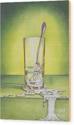 Glass With Melting Fork Wood Print by Melissa A Benson