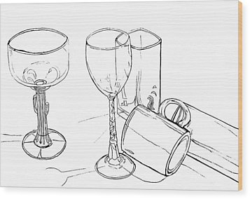 Glasses Wood Print by Jean Haynes