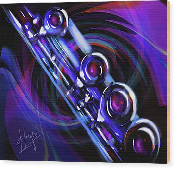 Wood Print featuring the painting Glassical Flute by DC Langer