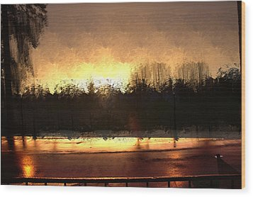 Wood Print featuring the mixed media Glassy Dawn by Terence Morrissey