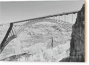 Glen Canyon Bridge Bw Wood Print