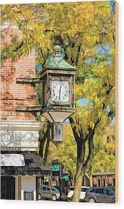 Wood Print featuring the painting Glen Ellyn Corner Clock by Christopher Arndt