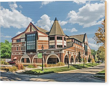 Wood Print featuring the painting Glen Ellyn Public Library by Christopher Arndt