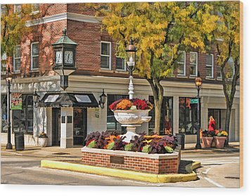 Wood Print featuring the painting Glen Ellyn Watering Fountain by Christopher Arndt