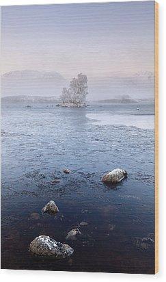 Wood Print featuring the photograph Glencoe Misty Winter Sunrise by Grant Glendinning