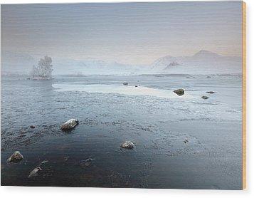 Wood Print featuring the photograph Glencoe Frozen Misty Winter Sunrise by Grant Glendinning