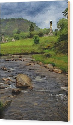 Glendalough In The Distance Wood Print by Jeff Kolker
