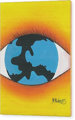 Global Sight Wood Print by Herold Alvares