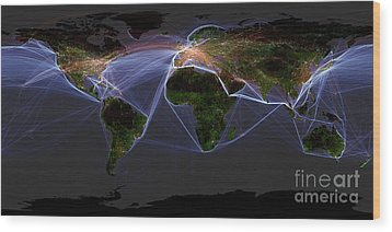 Global Transportation Map Wood Print by Felix PD and Globaia