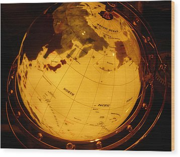 Globe Light One Wood Print by Katherine Adams