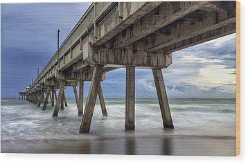 Gloomy Pier Wood Print