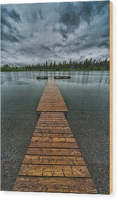 Wood Print featuring the photograph Gloomy Rainy Day On Norbury Lake by Darcy Michaelchuk