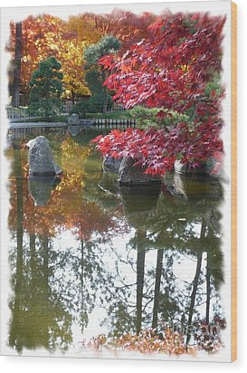 Glorious Fall Colors Reflection With Border Wood Print by Carol Groenen