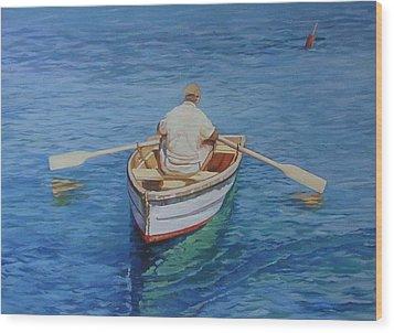 Gloucester Harbor Fisherman Wood Print by Michael McDougall
