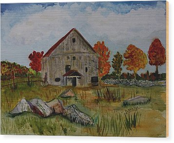 Wood Print featuring the painting Glover Barn In Autumn by Donna Walsh