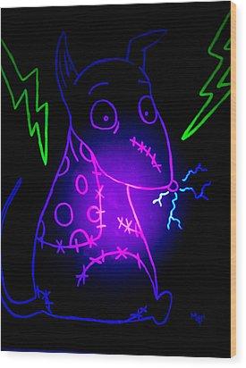 Glow Frankenweenie Sparky Wood Print by Marisela Mungia