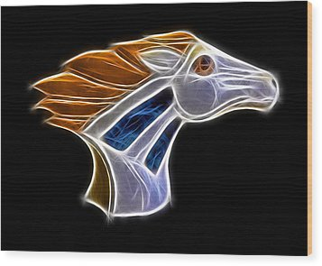 Glowing Bronco Wood Print by Shane Bechler