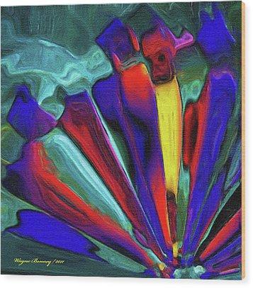 Glowing Chrystals Wood Print by Wayne Bonney