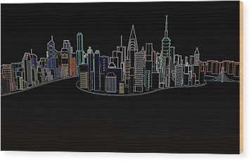 Glowing City Wood Print