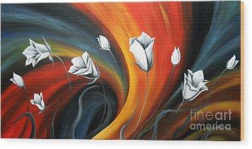 Glowing Flowers 5 Wood Print by Uma Devi