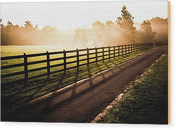 Wood Print featuring the photograph Glowing Fog At Sunrise by Shelby Young