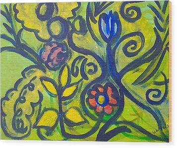 Glowing Garden Wood Print by Rebecca Merola