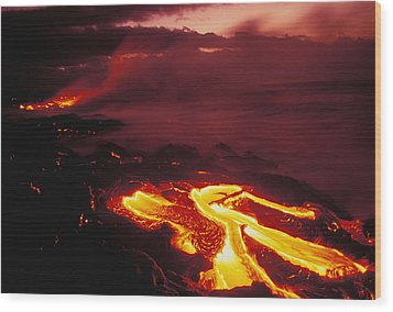 Glowing Lava Flow Wood Print by Peter French - Printscapes